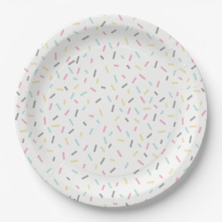 Sprinkle Party Plates (White) 9 Inch Paper Plate