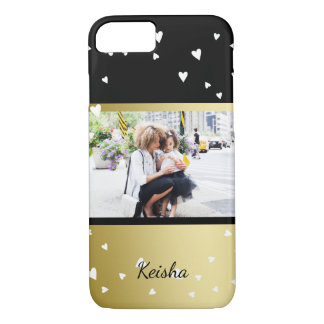 Sprinkled Hearts | Black Faux Gold | Custom Photo iPhone 7 Case