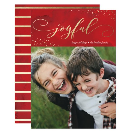 Sprinkled Joy Faux Foil Christmas Holiday Card