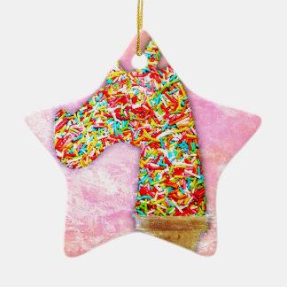 Sprinkled Unicorn Ice Cream Ceramic Ornament