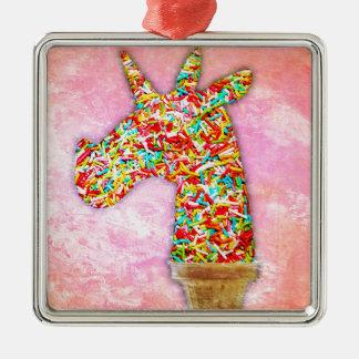Sprinkled Unicorn Ice Cream Metal Ornament