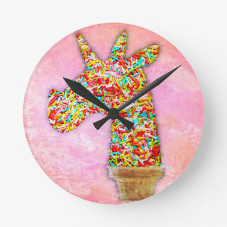 Sprinkled Unicorn Ice Cream Round Clock