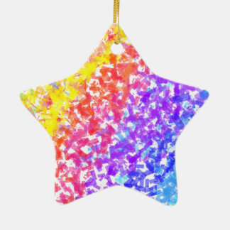 Sprinkled with Color Abstract Rainbow Splash Ceramic Star Ornament