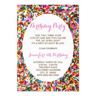 """Sprinkles Birthday Party 5"""" X 7"""" Invitation Card"""