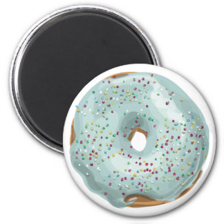 Sprinkles Doughnut with Blue Frosting. 2 Inch Round Magnet