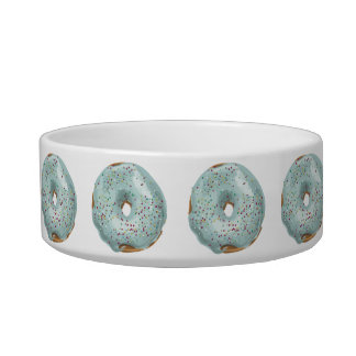 Sprinkles Doughnut with Blue Frosting. Pet Food Bowls