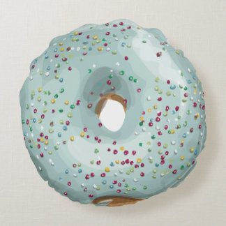 Sprinkles Doughnut with Blue Frosting. Round Pillow