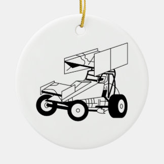 Sprint Car Outline Ceramic Ornament