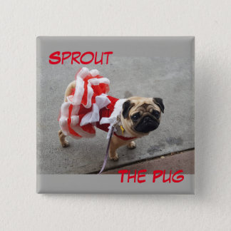 Sprout in a Red Dress 2 Inch Square Button