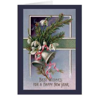 Spruce and Silver Bells Vintage New Year Card