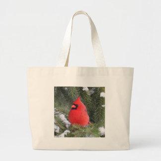 Spruce cardinal large tote bag