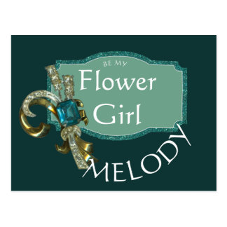 Spruce Green and Sapphire Jewel Flower Girl Postcard