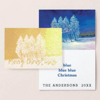 Spruce Pine Blue Christmas Trees Original Painting Foil Card