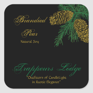 Spruce Pine Cone Candle Label v2 Square Sticker