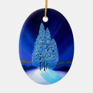 Spruce Trees Blue Christmas Seven Ceramic Oval Ornament