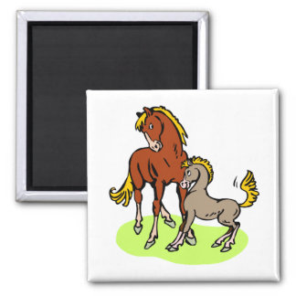 Spunky Mare Foal Cute Cartoon Horse Theme Equine Square Magnet