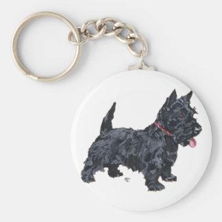 Spunky Scottie Dog Basic Round Button Keychain