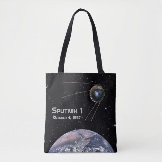 Sputnik 1 Earth Satellite Tote Bag