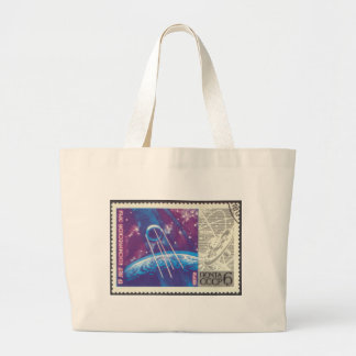 Sputnik 1 Russian Space Science 15 Years Large Tote Bag