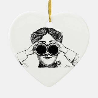 spy girl picture ceramic ornament