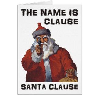 Spy Santa Clause aiming a gun: Funny Christmas Card