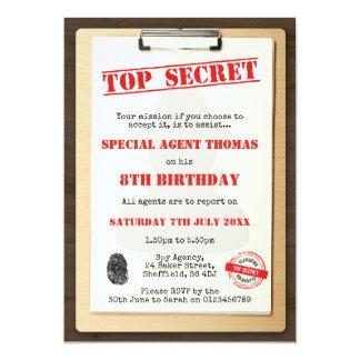 Spy themed birthday party invitation