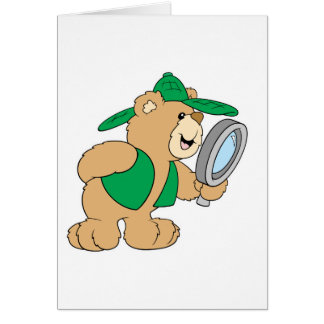 Spying Detective Bear Card
