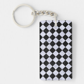 SQR2 BK-WH MARBLE Double-Sided RECTANGULAR ACRYLIC KEYCHAIN