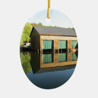 Squam River Boathouse Ceramic Oval Ornament