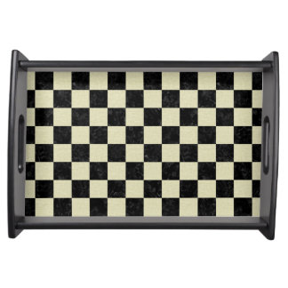 SQUARE1 BLACK MARBLE & BEIGE LINEN SERVING TRAY