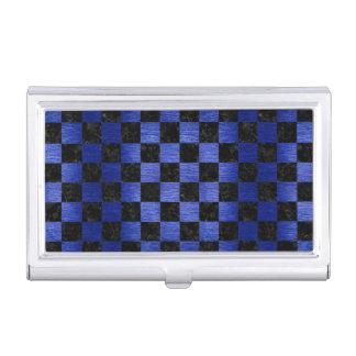 SQUARE1 BLACK MARBLE & BLUE BRUSHED METAL BUSINESS CARD HOLDER