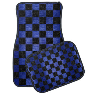 SQUARE1 BLACK MARBLE & BLUE BRUSHED METAL CAR MAT