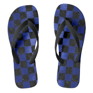 SQUARE1 BLACK MARBLE & BLUE BRUSHED METAL FLIP FLOPS