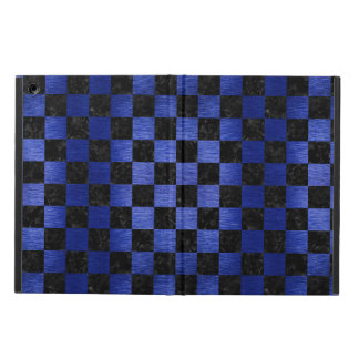 SQUARE1 BLACK MARBLE & BLUE BRUSHED METAL iPad AIR CASE