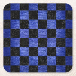 SQUARE1 BLACK MARBLE & BLUE BRUSHED METAL SQUARE PAPER COASTER