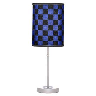 SQUARE1 BLACK MARBLE & BLUE BRUSHED METAL TABLE LAMP