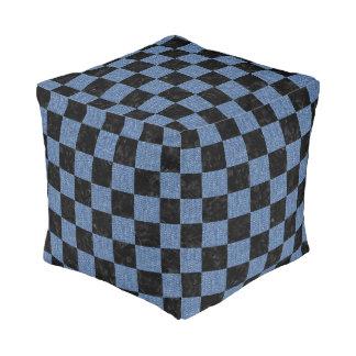 SQUARE1 BLACK MARBLE & BLUE DENIM POUF