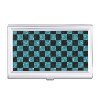 SQUARE1 BLACK MARBLE & BLUE-GREEN WATER BUSINESS CARD HOLDER