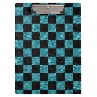 SQUARE1 BLACK MARBLE & BLUE-GREEN WATER CLIPBOARD
