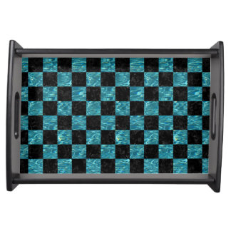 SQUARE1 BLACK MARBLE & BLUE-GREEN WATER SERVING TRAY
