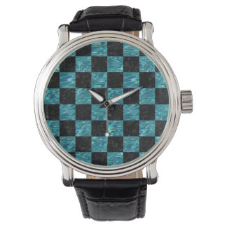 SQUARE1 BLACK MARBLE & BLUE-GREEN WATER WATCH