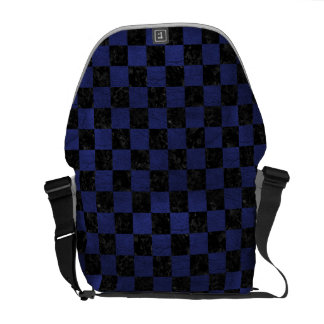 SQUARE1 BLACK MARBLE & BLUE LEATHER COURIER BAG