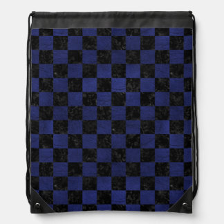 SQUARE1 BLACK MARBLE & BLUE LEATHER DRAWSTRING BAG