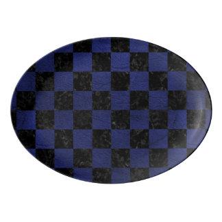 SQUARE1 BLACK MARBLE & BLUE LEATHER PORCELAIN SERVING PLATTER