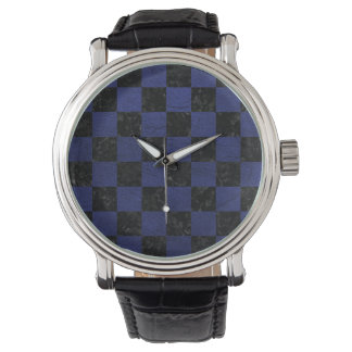 SQUARE1 BLACK MARBLE & BLUE LEATHER WATCH