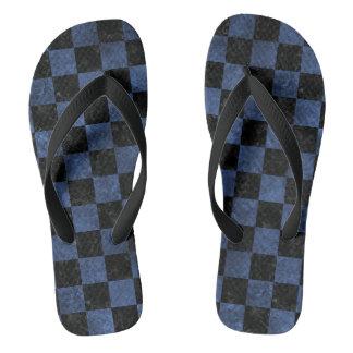 SQUARE1 BLACK MARBLE & BLUE STONE FLIP FLOPS