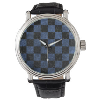 SQUARE1 BLACK MARBLE & BLUE STONE WATCH