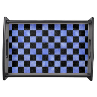 SQUARE1 BLACK MARBLE & BLUE WATERCOLOR SERVING TRAY