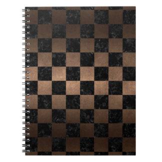 SQUARE1 BLACK MARBLE & BRONZE METAL SPIRAL NOTEBOOK