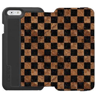 SQUARE1 BLACK MARBLE & BROWN STONE INCIPIO WATSON™ iPhone 6 WALLET CASE